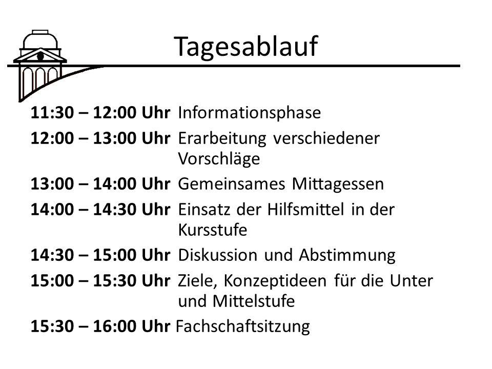 Tagesablauf 11:30 – 12:00 Uhr Informationsphase 12:00 – 13:00 Uhr Erarbeitung verschiedener Vorschläge 13:00 – 14:00 Uhr Gemeinsames Mittagessen 14:00 – 14:30 Uhr Einsatz der Hilfsmittel in der Kursstufe 14:30 – 15:00 Uhr Diskussion und Abstimmung 15:00 – 15:30 Uhr Ziele, Konzeptideen für die Unter und Mittelstufe 15:30 – 16:00 Uhr Fachschaftsitzung