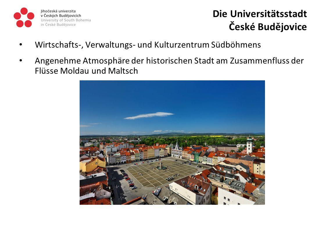 Die Universitätsstadt České Budějovice Wirtschafts-, Verwaltungs- und Kulturzentrum Südböhmens Angenehme Atmosphäre der historischen Stadt am Zusammenfluss der Flüsse Moldau und Maltsch