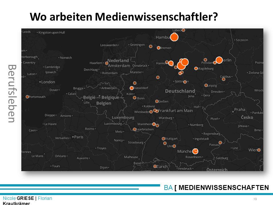 BA [ MEDIENWISSENSCHAFTEN Nicole GRIESE | Florian Krautkrämer Berufsleben 19 Wo arbeiten Medienwissenschaftler?
