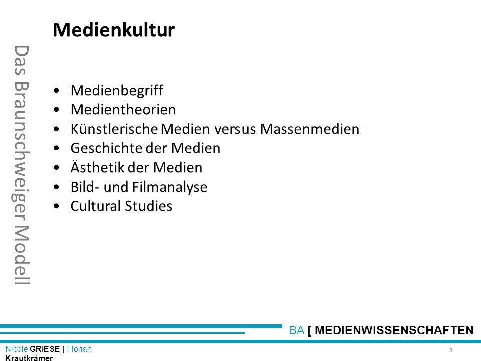 BA [ MEDIENWISSENSCHAFTEN Nicole GRIESE | Florian Krautkrämer Das Braunschweiger Modell Medienkultur Medienbegriff Medientheorien Künstlerische Medien