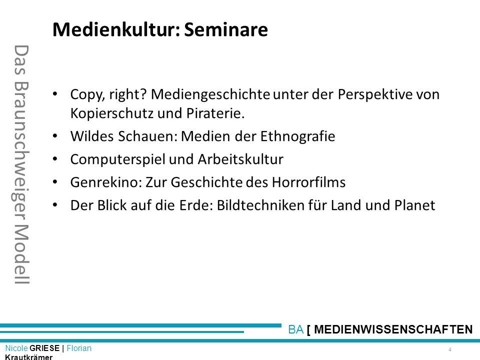 BA [ MEDIENWISSENSCHAFTEN Nicole GRIESE | Florian Krautkrämer Das Braunschweiger Modell Medienkultur: Seminare Copy, right? Mediengeschichte unter der