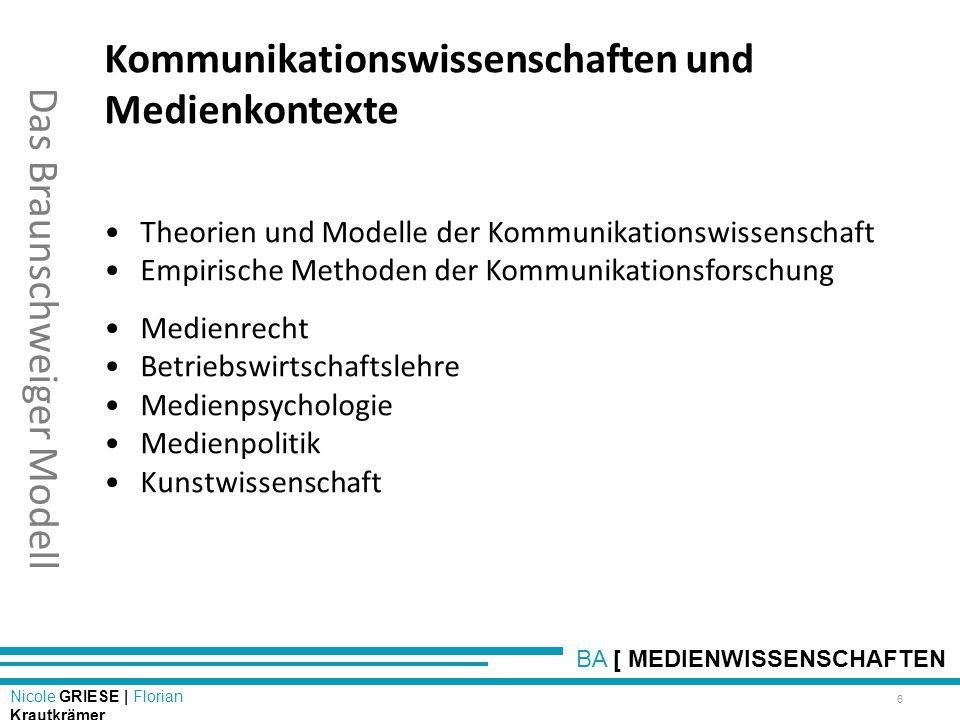 BA [ MEDIENWISSENSCHAFTEN Nicole GRIESE | Florian Krautkrämer Das Braunschweiger Modell Kommunikationswissenschaften und Medienkontexte Theorien und M