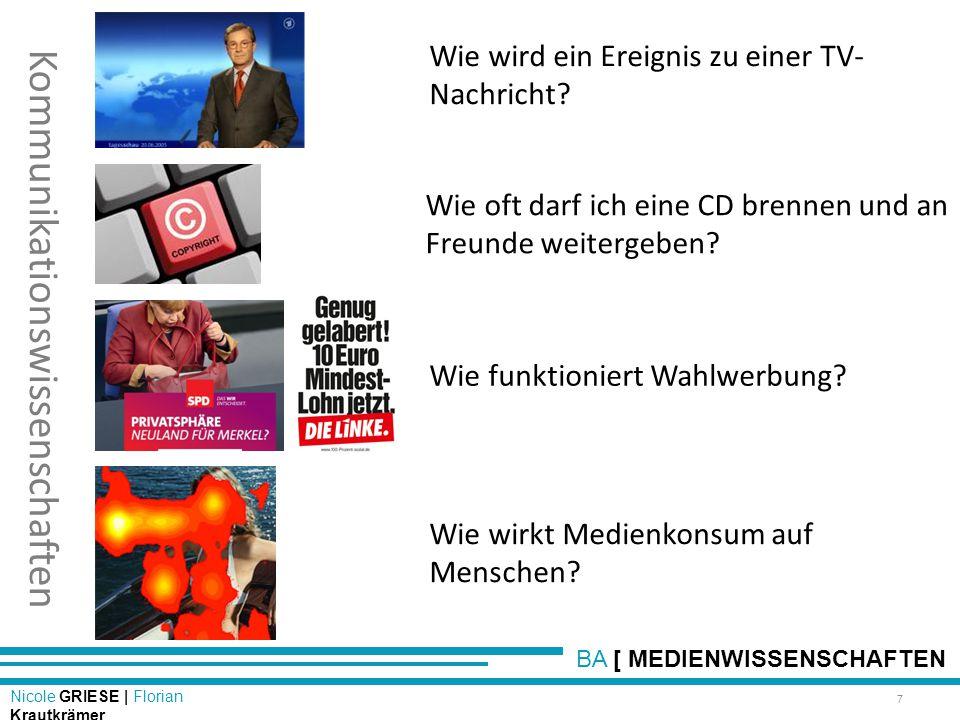 BA [ MEDIENWISSENSCHAFTEN Nicole GRIESE | Florian Krautkrämer Kommunikationswissenschaften Wie wird ein Ereignis zu einer TV- Nachricht? 7 Wie oft dar