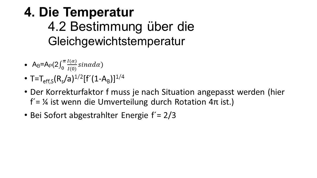 4. Die Temperatur 4.2 Bestimmung über die Gleichgewichtstemperatur T=T eff,S (R s /a) 1/2 [f´(1-A B )] 1/4 Der Korrekturfaktor f muss je nach Situatio
