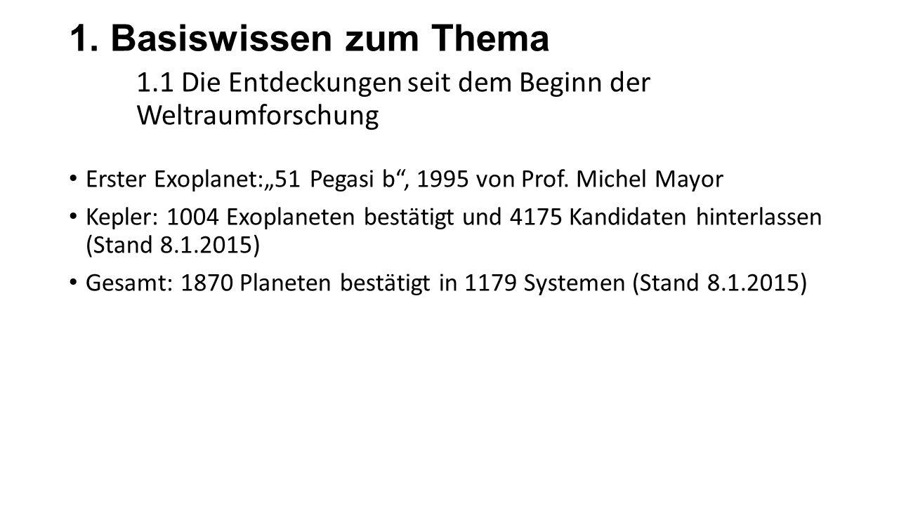 """1. Basiswissen zum Thema 1.1 Die Entdeckungen seit dem Beginn der Weltraumforschung Erster Exoplanet:""""51 Pegasi b"""", 1995 von Prof. Michel Mayor Kepler"""