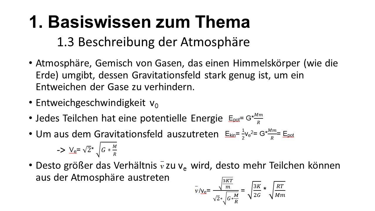 1. Basiswissen zum Thema 1.3 Beschreibung der Atmosphäre Atmosphäre, Gemisch von Gasen, das einen Himmelskörper (wie die Erde) umgibt, dessen Gravitat