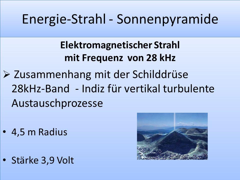 Energie-Strahl - Sonnenpyramide Elektromagnetischer Strahl mit Frequenz von 28 kHz  Zusammenhang mit der Schilddrüse 28kHz-Band - Indiz für vertikal