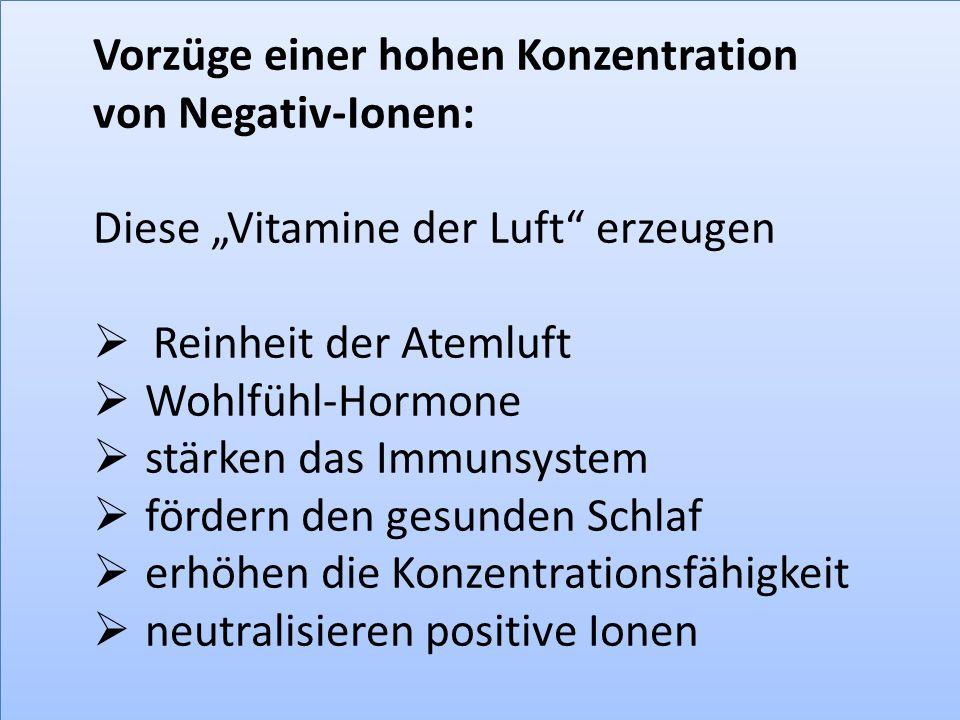 """Vorzüge einer hohen Konzentration von Negativ-Ionen: Diese """"Vitamine der Luft"""" erzeugen  Reinheit der Atemluft  Wohlfühl-Hormone  stärken das Immun"""