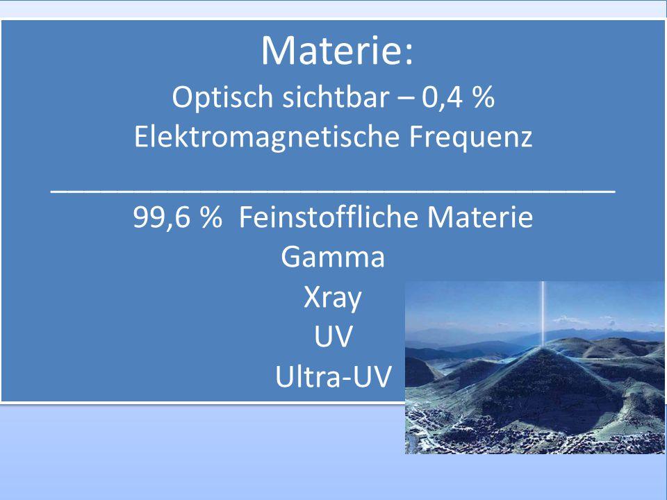 Materie: Optisch sichtbar – 0,4 % Elektromagnetische Frequenz __________________________________ 99,6 % Feinstoffliche Materie Gamma Xray UV Ultra-UV