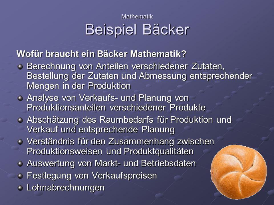 Mathematik Unterrichtsbeispiel für Klasse 7 Eine Bäckerei möchte eine neue Filiale eröffnen.