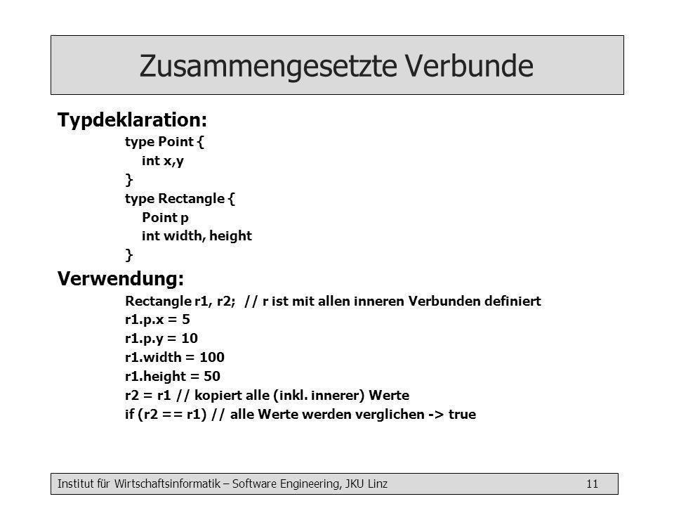 Institut für Wirtschaftsinformatik – Software Engineering, JKU Linz 11 Zusammengesetzte Verbunde Typdeklaration: type Point { int x,y } type Rectangle { Point p int width, height } Verwendung: Rectangle r1, r2; // r ist mit allen inneren Verbunden definiert r1.p.x = 5 r1.p.y = 10 r1.width = 100 r1.height = 50 r2 = r1 // kopiert alle (inkl.