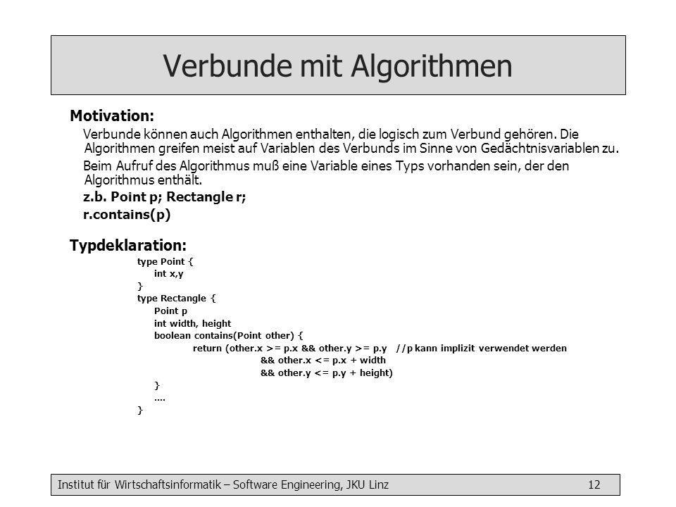 Institut für Wirtschaftsinformatik – Software Engineering, JKU Linz 12 Verbunde mit Algorithmen Motivation: Verbunde können auch Algorithmen enthalten, die logisch zum Verbund gehören.