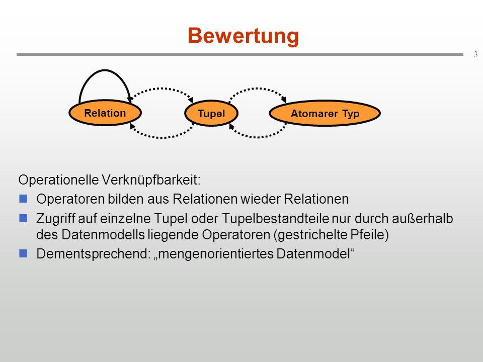 """3 Bewertung Operationelle Verknüpfbarkeit: Operatoren bilden aus Relationen wieder Relationen Zugriff auf einzelne Tupel oder Tupelbestandteile nur durch außerhalb des Datenmodells liegende Operatoren (gestrichelte Pfeile) Dementsprechend: """"mengenorientiertes Datenmodel Relation TupelAtomarer Typ"""