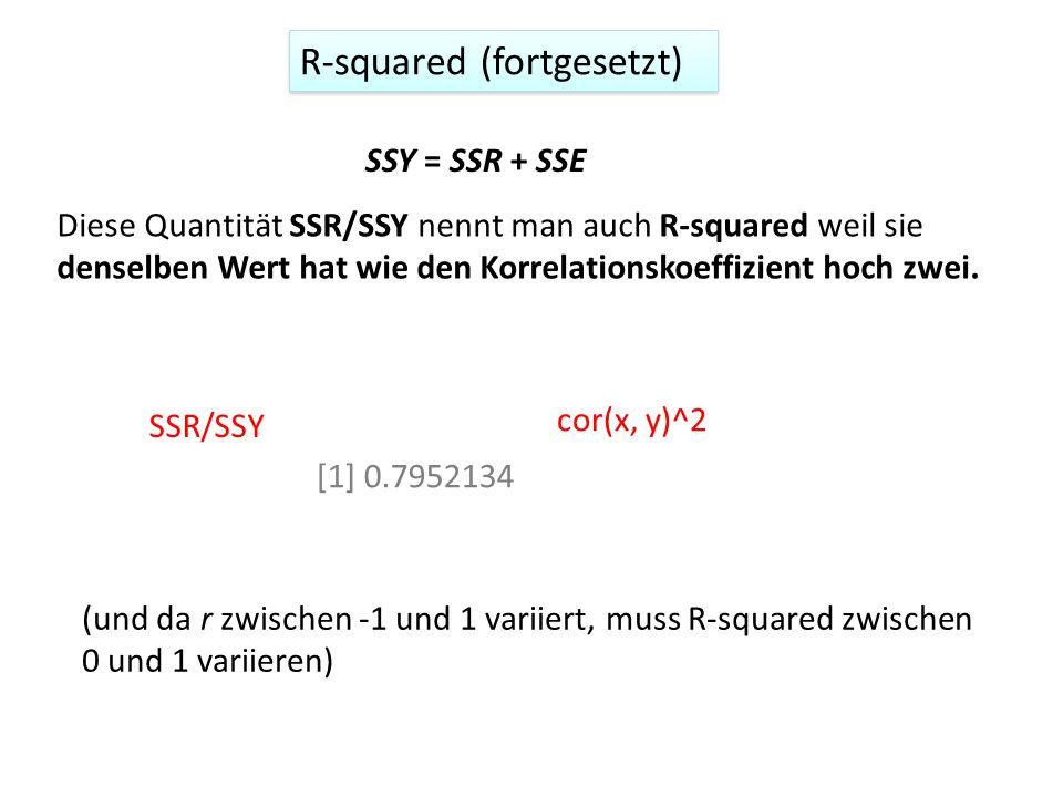 R-squared (fortgesetzt) SSY = SSR + SSE Diese Quantität SSR/SSY nennt man auch R-squared weil sie denselben Wert hat wie den Korrelationskoeffizient hoch zwei.