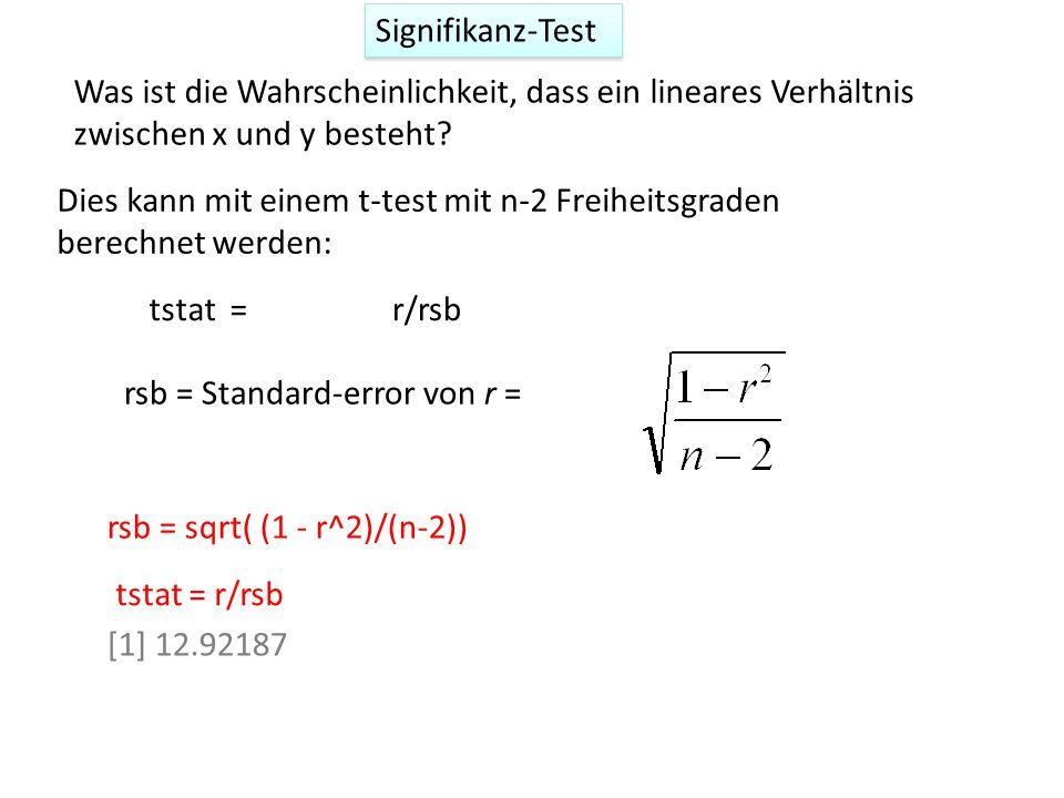 Signifikanz-Test Was ist die Wahrscheinlichkeit, dass ein lineares Verhältnis zwischen x und y besteht.