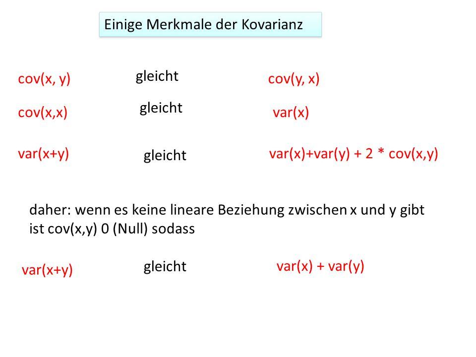 Einige Merkmale der Kovarianz cov(x, y) var(x+y)var(x)+var(y) + 2 * cov(x,y) cov(x,x) cov(y, x) var(x) gleicht daher: wenn es keine lineare Beziehung zwischen x und y gibt ist cov(x,y) 0 (Null) sodass var(x) + var(y) var(x+y) gleicht