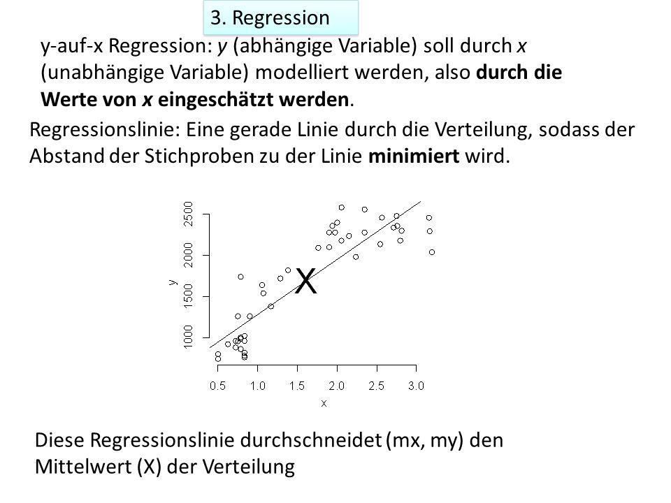 3. Regression y-auf-x Regression: y (abhängige Variable) soll durch x (unabhängige Variable) modelliert werden, also durch die Werte von x eingeschätz