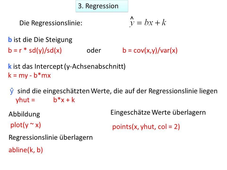 k = my - b*mx b ist die Die Steigung ŷ sind die eingeschätzten Werte, die auf der Regressionslinie liegen k ist das Intercept (y-Achsenabschnitt) yhut = Die Regressionslinie: ^ b = r * sd(y)/sd(x)b = cov(x,y)/var(x)oder abline(k, b) Abbildung plot(y ~ x) Regressionslinie überlagern b*x + k 3.