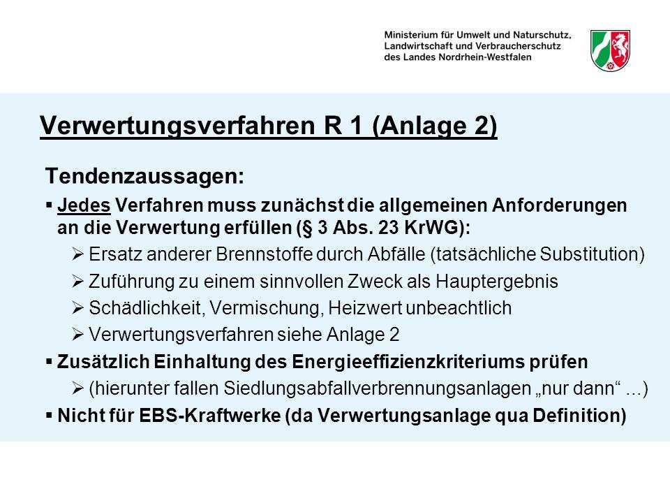 Verwertungsverfahren R 1 (Anlage 2) Tendenzaussagen:  Jedes Verfahren muss zunächst die allgemeinen Anforderungen an die Verwertung erfüllen (§ 3 Abs.