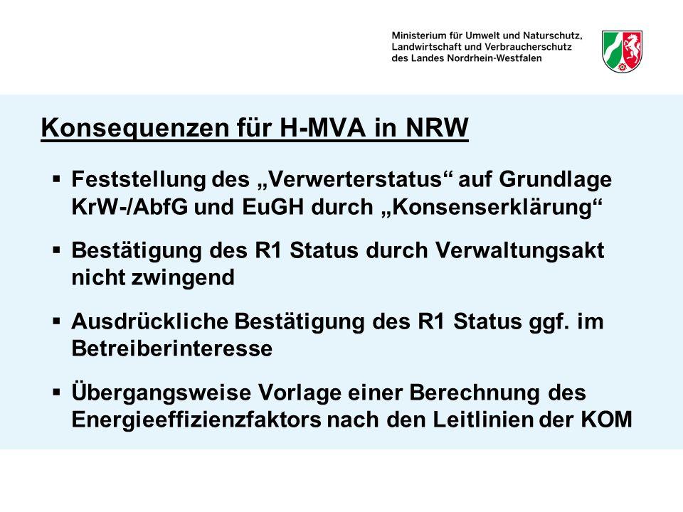 """Konsequenzen für H-MVA in NRW  Feststellung des """"Verwerterstatus auf Grundlage KrW-/AbfG und EuGH durch """"Konsenserklärung  Bestätigung des R1 Status durch Verwaltungsakt nicht zwingend  Ausdrückliche Bestätigung des R1 Status ggf."""