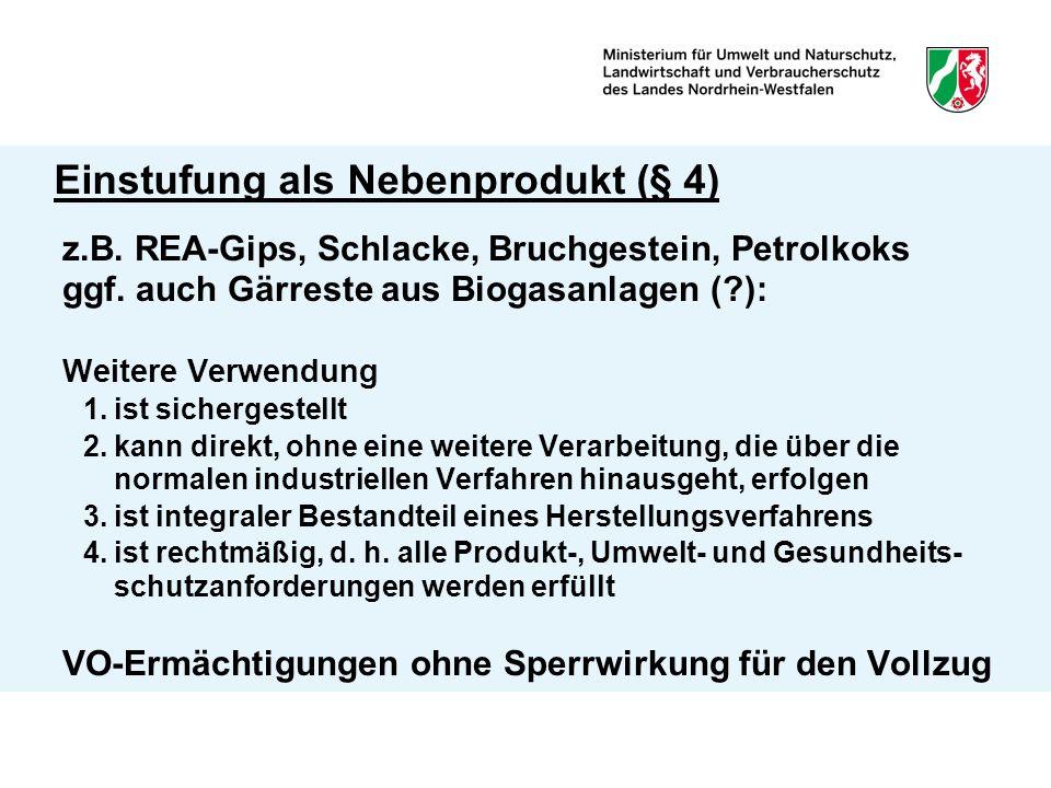Einstufung als Nebenprodukt (§ 4) z.B.REA-Gips, Schlacke, Bruchgestein, Petrolkoks ggf.