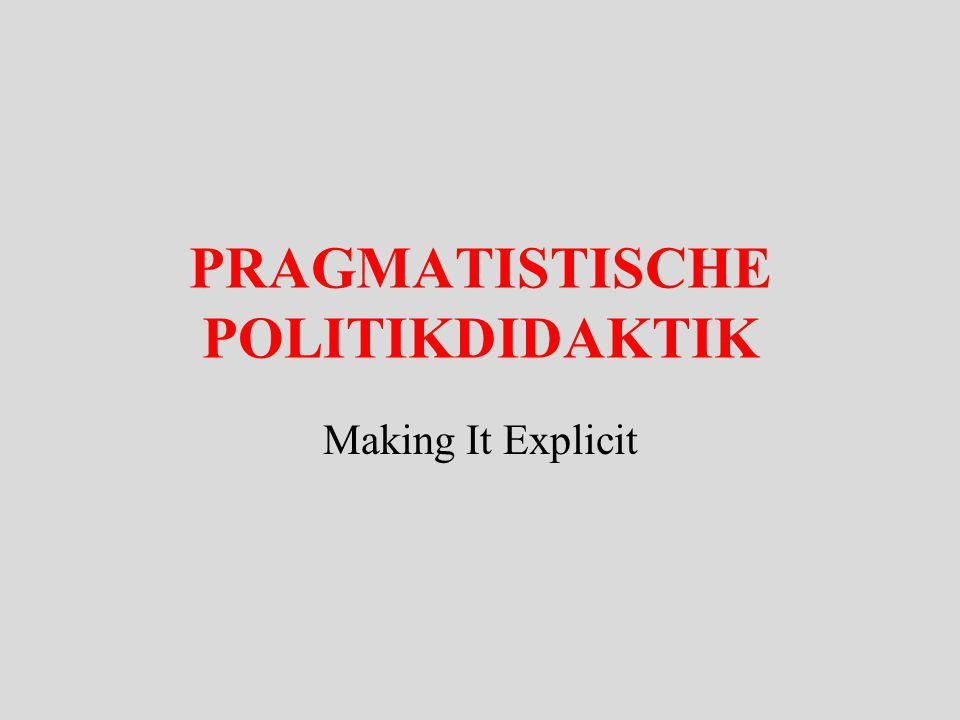 PRAGMATISTISCHE POLITIKDIDAKTIK Making It Explicit