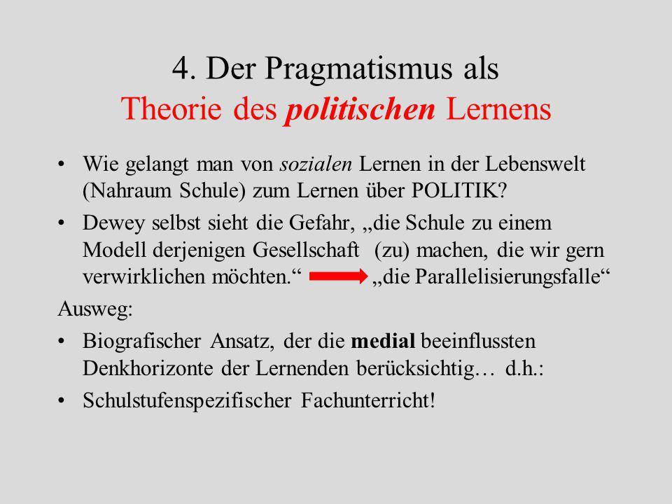 3. Der Pragmatismus als Theorie des sozialen Lernens Ausgangspunkt: Lernprozess = Forschungsprozess ergo: Es müssen auch die Bedingungen der Forschung