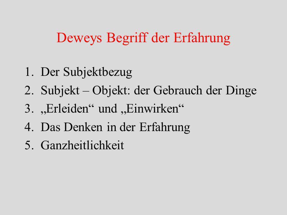 """Deweys Begriff der Erfahrung 1.Der Subjektbezug 2.Subjekt – Objekt: der Gebrauch der Dinge 3.""""Erleiden und """"Einwirken 4.Das Denken in der Erfahrung 5.Ganzheitlichkeit"""
