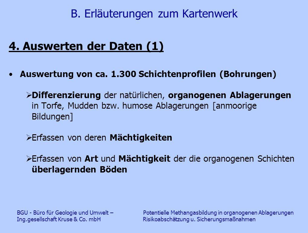 B. Erläuterungen zum Kartenwerk 4. Auswerten der Daten (1) Auswertung von ca. 1.300 Schichtenprofilen (Bohrungen)  Differenzierung der natürlichen, o