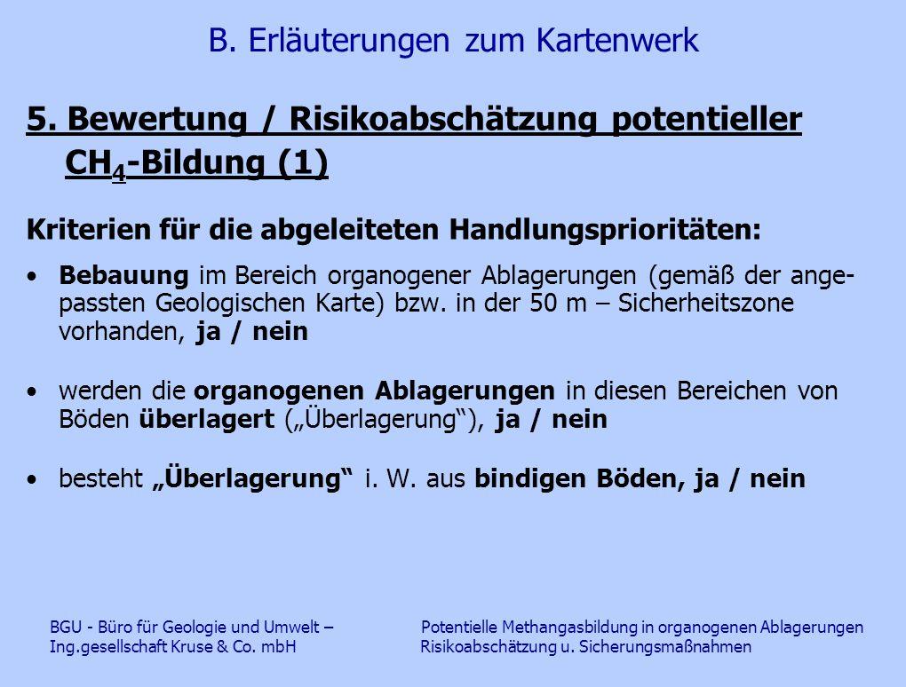 B. Erläuterungen zum Kartenwerk 5. Bewertung / Risikoabschätzung potentieller CH 4 -Bildung (1) Kriterien für die abgeleiteten Handlungsprioritäten: B
