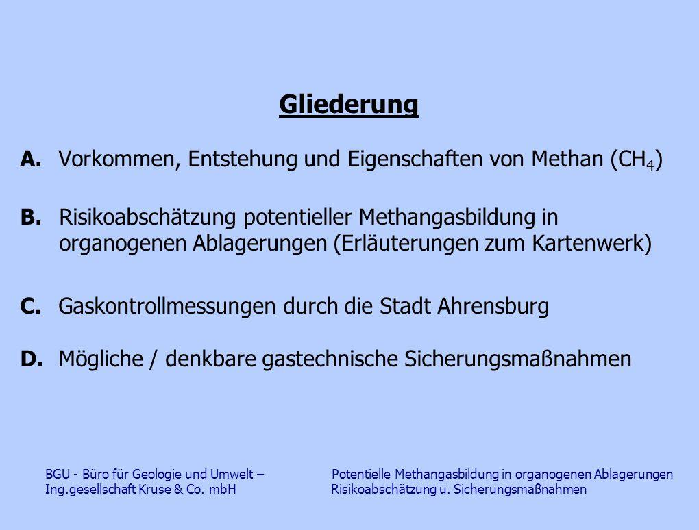 A.Vorkommen, Entstehung und Eigenschaften von Methan (CH 4 ) Vorkommen u.