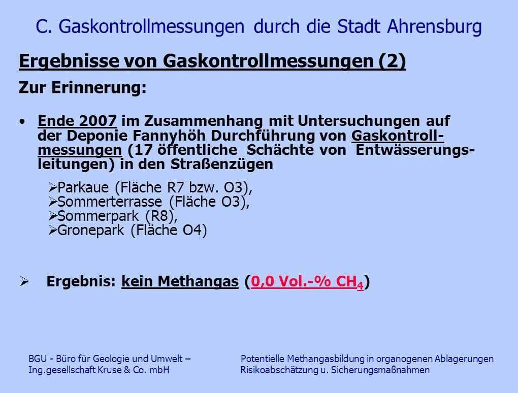 C. Gaskontrollmessungen durch die Stadt Ahrensburg Ergebnisse von Gaskontrollmessungen (2) Zur Erinnerung: Ende 2007 im Zusammenhang mit Untersuchunge