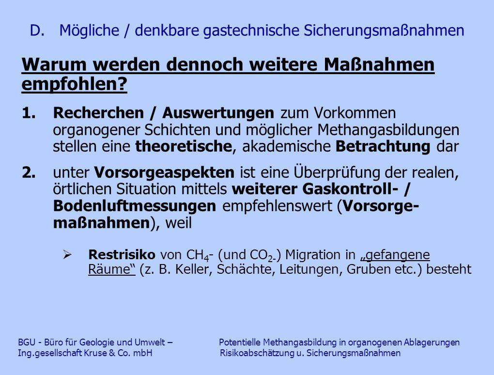 D. Mögliche / denkbare gastechnische Sicherungsmaßnahmen Warum werden dennoch weitere Maßnahmen empfohlen? 1.Recherchen / Auswertungen zum Vorkommen o