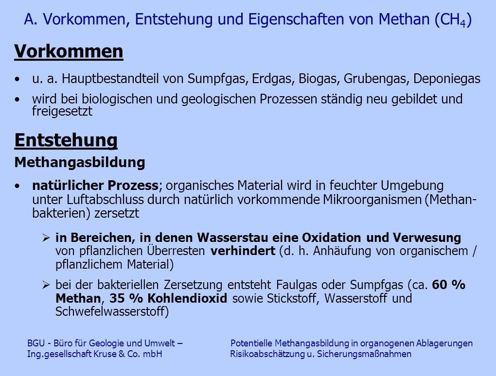 A. Vorkommen, Entstehung und Eigenschaften von Methan (CH 4 ) Vorkommen u. a. Hauptbestandteil von Sumpfgas, Erdgas, Biogas, Grubengas, Deponiegas wir