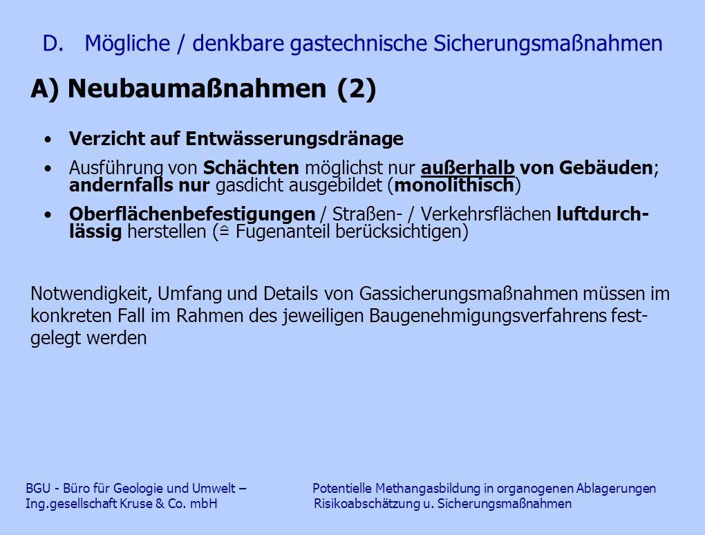 D. Mögliche / denkbare gastechnische Sicherungsmaßnahmen A) Neubaumaßnahmen (2) Verzicht auf Entwässerungsdränage Ausführung von Schächten möglichst n