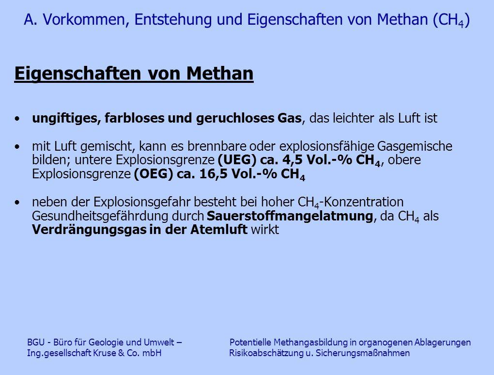 A. Vorkommen, Entstehung und Eigenschaften von Methan (CH 4 ) Eigenschaften von Methan ungiftiges, farbloses und geruchloses Gas, das leichter als Luf