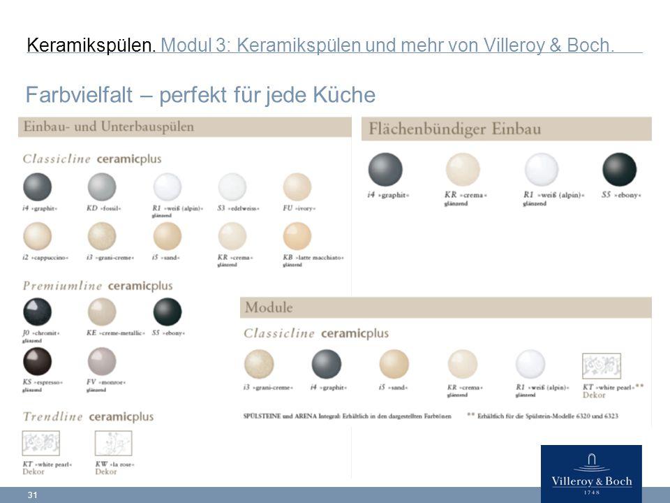 31 Keramikspülen.Modul 3: Keramikspülen und mehr von Villeroy & Boch.