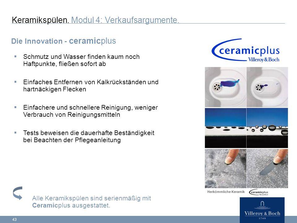 43 Die Innovation - ceramicplus Keramikspülen.Modul 4: Verkaufsargumente.