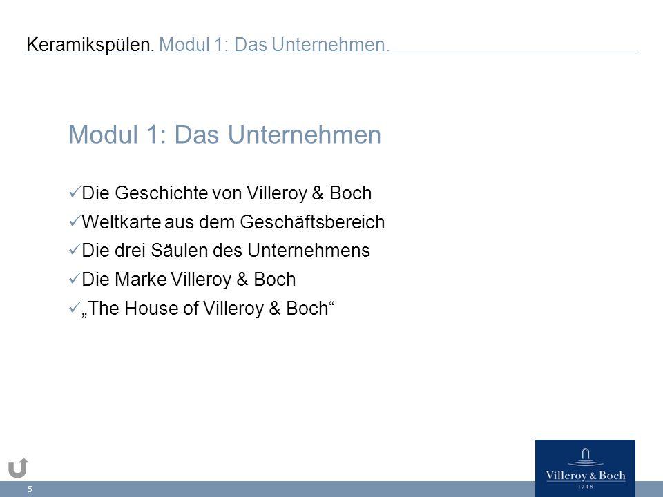 """5 Modul 1: Das Unternehmen Die Geschichte von Villeroy & Boch Weltkarte aus dem Geschäftsbereich Die drei Säulen des Unternehmens Die Marke Villeroy & Boch """"The House of Villeroy & Boch Keramikspülen."""