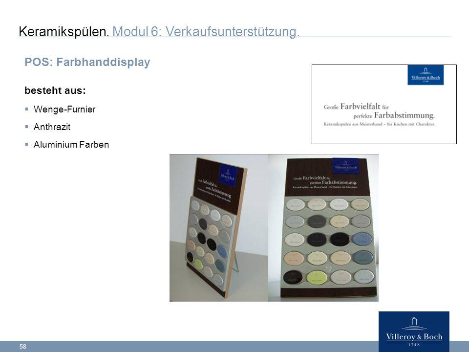 58 POS: Farbhanddisplay besteht aus:  Wenge-Furnier  Anthrazit  Aluminium Farben Keramikspülen.