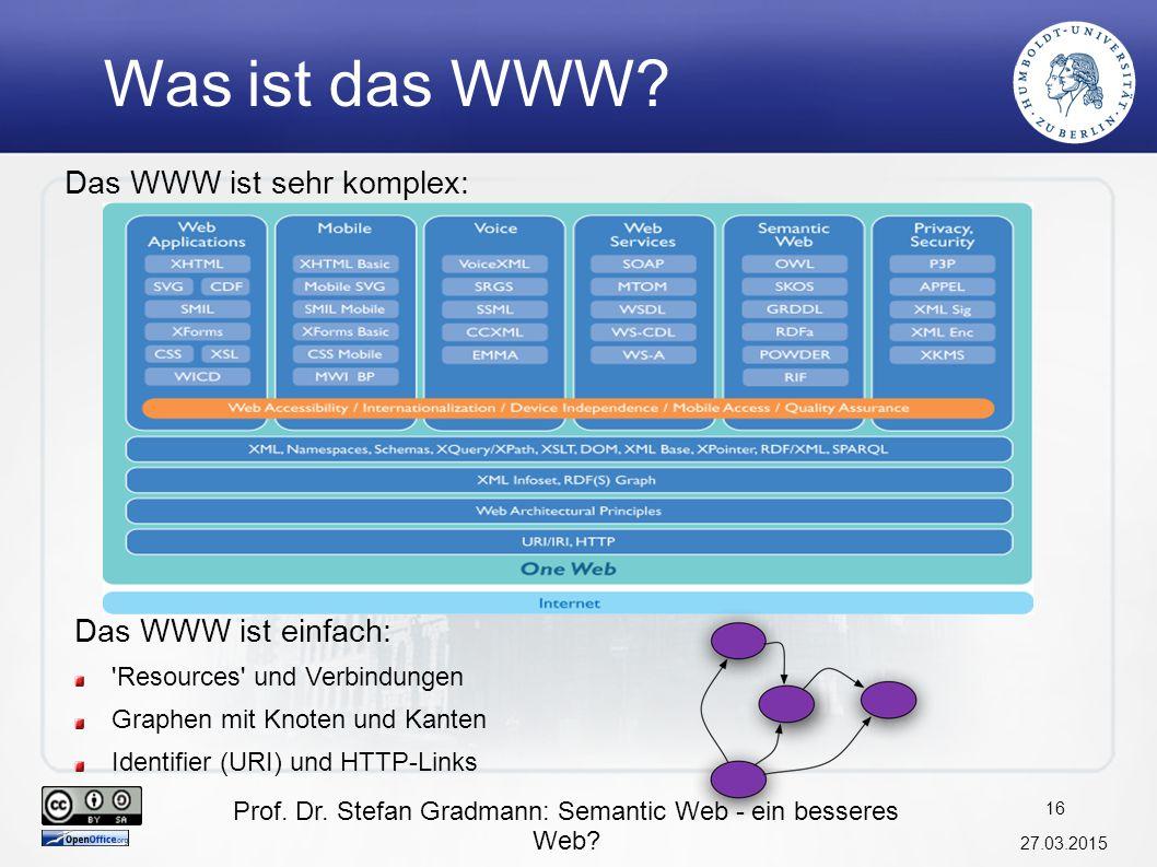 Prof. Dr. Stefan Gradmann: Semantic Web - ein besseres Web? 27.03.2015 17 Semantic Web Layer Cake