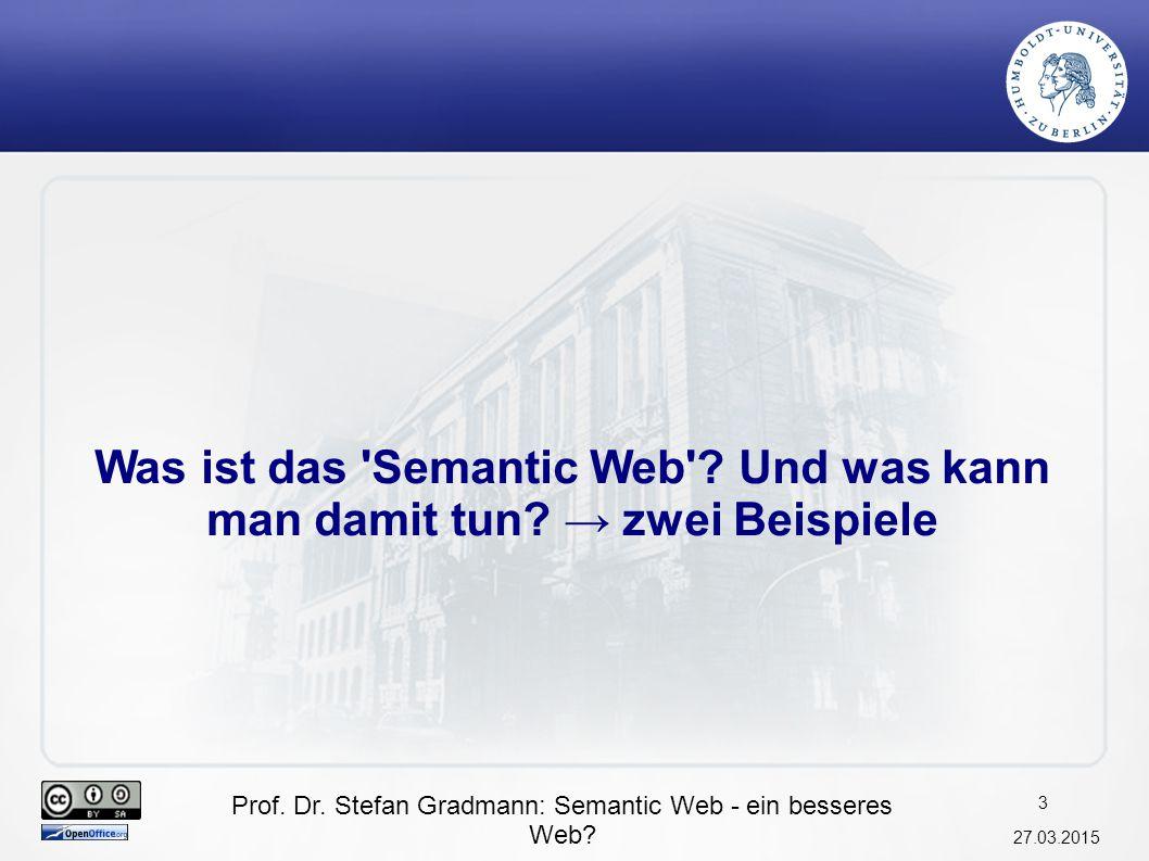 Prof.Dr. Stefan Gradmann: Semantic Web - ein besseres Web.