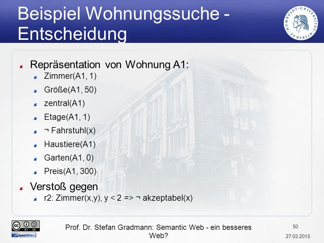 Prof. Dr. Stefan Gradmann: Semantic Web - ein besseres Web? 27.03.2015 51 Semantic Web Layer Cake