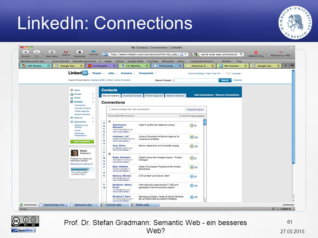 Prof. Dr. Stefan Gradmann: Semantic Web - ein besseres Web? 27.03.2015 61 LinkedIn: Connections