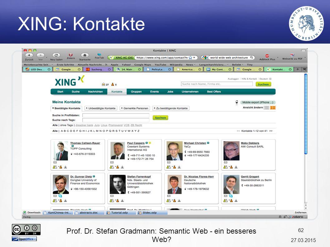 Prof. Dr. Stefan Gradmann: Semantic Web - ein besseres Web? 27.03.2015 63 Facebook: Friends