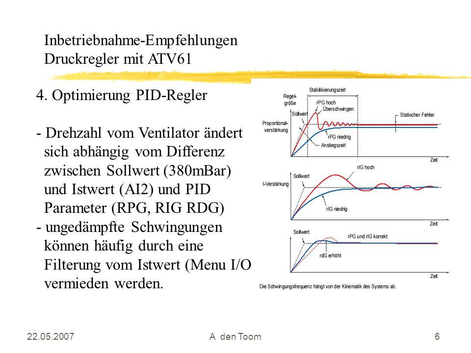 22.05.2007A den Toom6 4. Optimierung PID-Regler - Drehzahl vom Ventilator ändert sich abhängig vom Differenz zwischen Sollwert (380mBar) und Istwert (