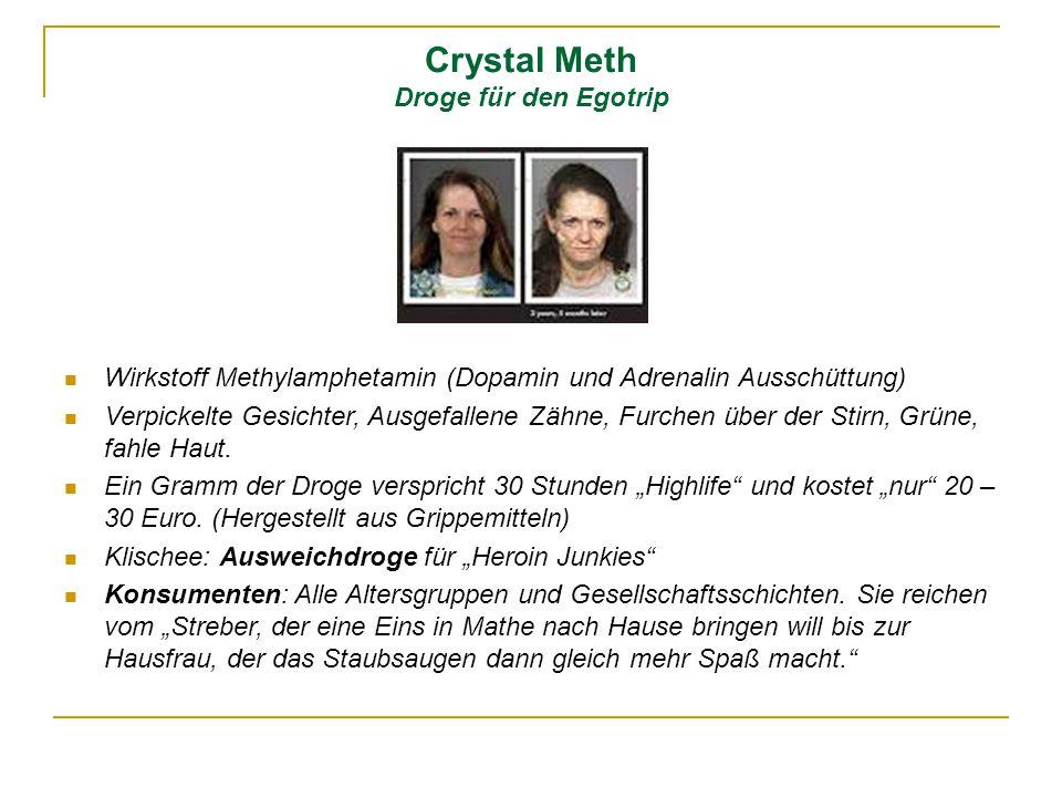 Crystal Meth Droge für den Egotrip Wirkstoff Methylamphetamin (Dopamin und Adrenalin Ausschüttung) Verpickelte Gesichter, Ausgefallene Zähne, Furchen
