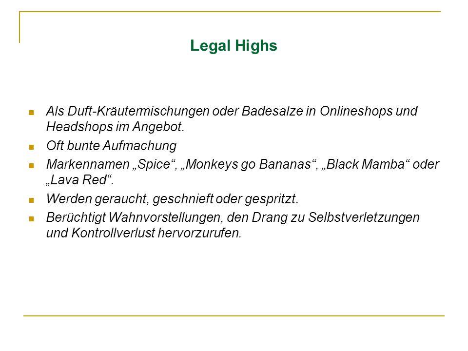 """Legal Highs Als Duft-Kräutermischungen oder Badesalze in Onlineshops und Headshops im Angebot. Oft bunte Aufmachung Markennamen """"Spice"""", """"Monkeys go B"""