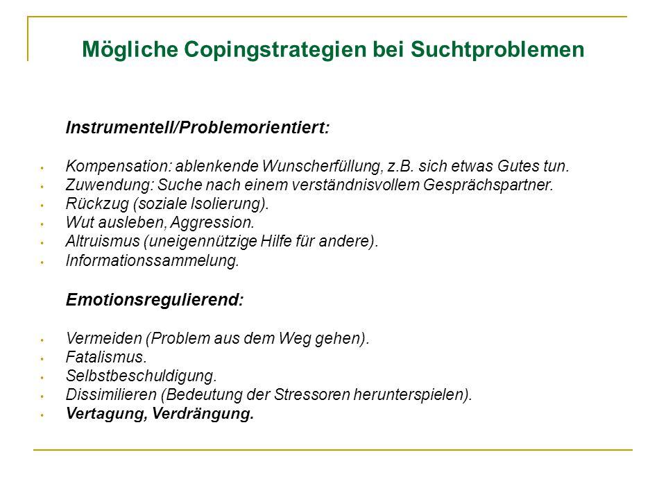 Mögliche Copingstrategien bei Suchtproblemen Instrumentell/Problemorientiert: Kompensation: ablenkende Wunscherfüllung, z.B. sich etwas Gutes tun. Zuw