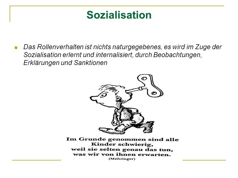 Sozialisation Das Rollenverhalten ist nichts naturgegebenes, es wird im Zuge der Sozialisation erlernt und internalisiert, durch Beobachtungen, Erklär